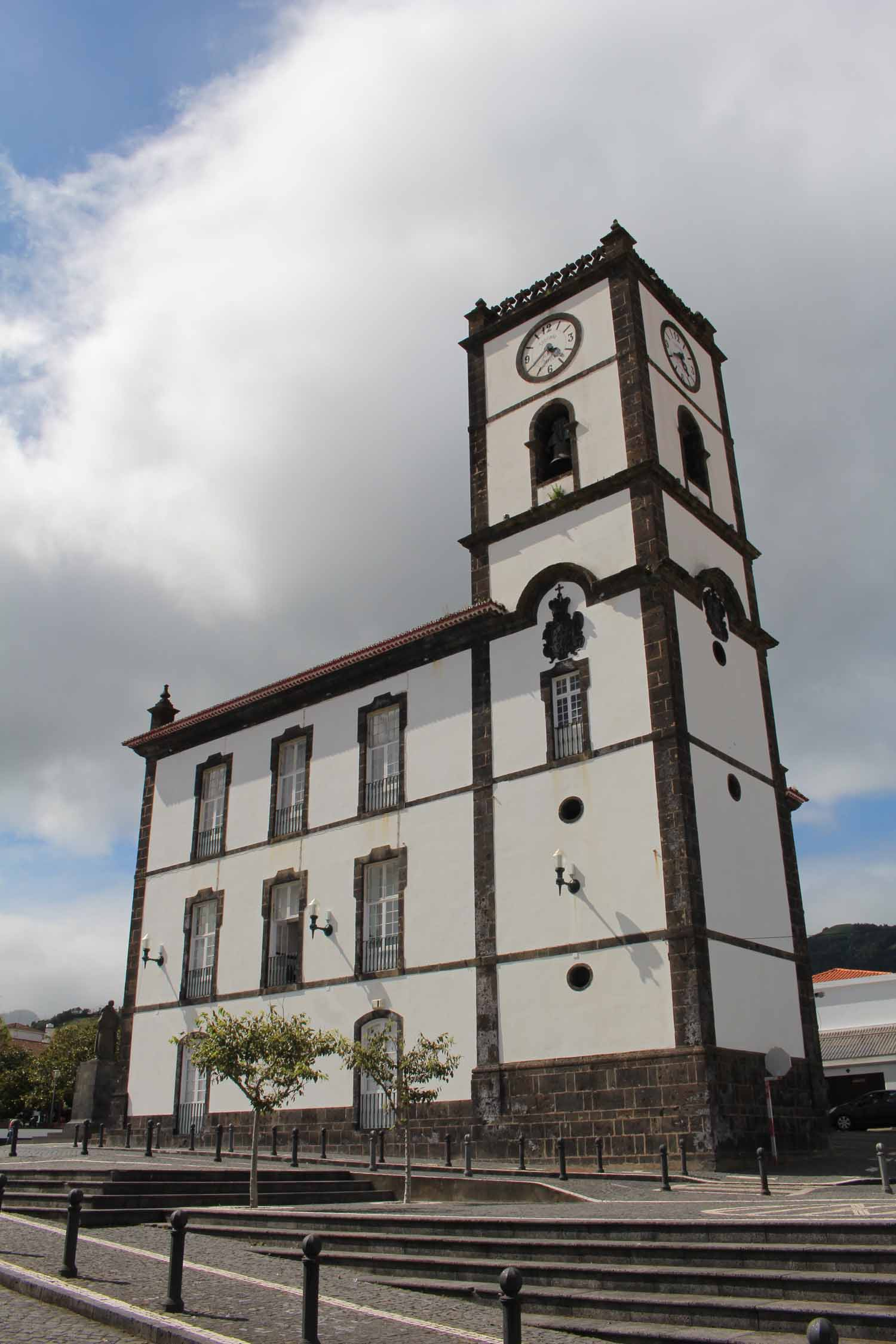 A tower and the tawn hall of Vila Franca do Campo, São Miguel island, Azores