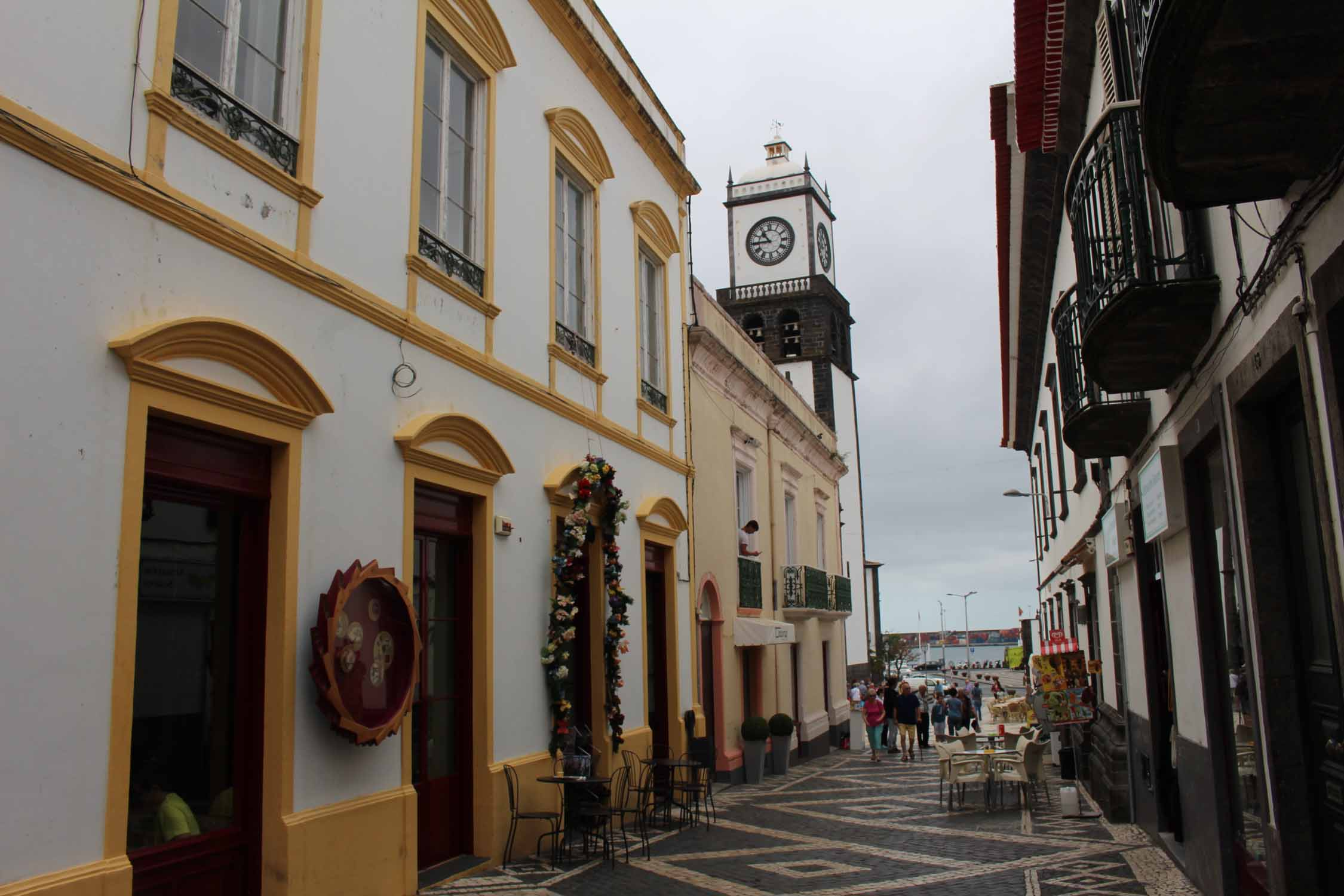 A street of Ponta Delgada and the Matriz church, São Miguel island, Azores
