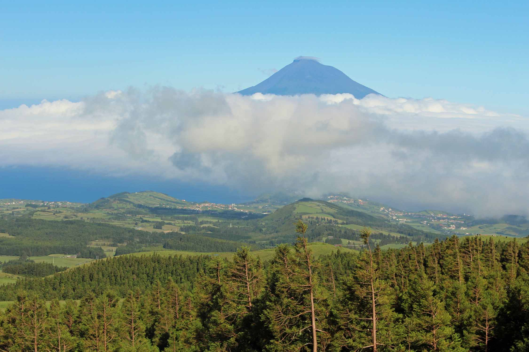 View of the volcano Pico, Faial Island, Azores