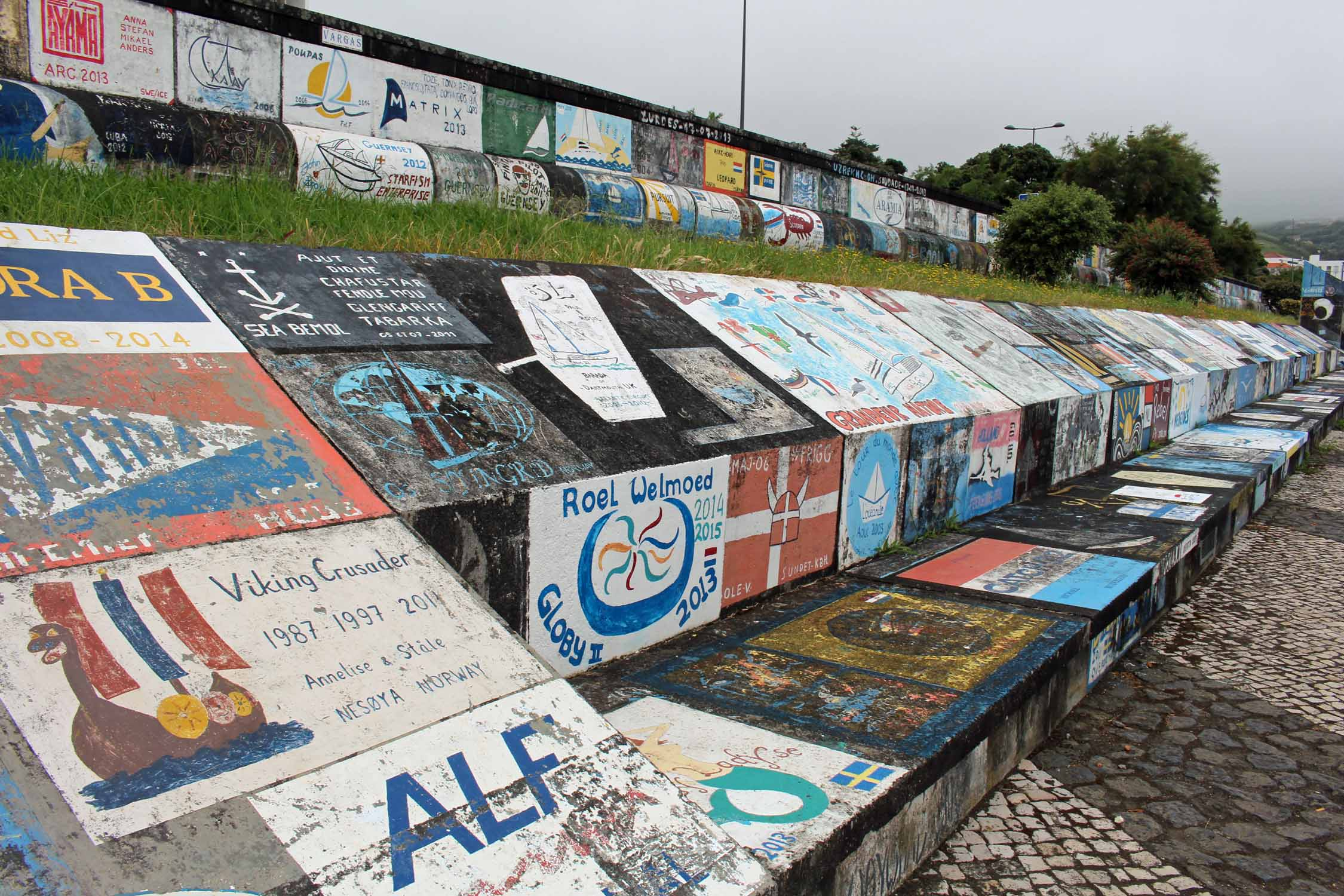 Paintings in the port of Horta, Faial Island, Azores