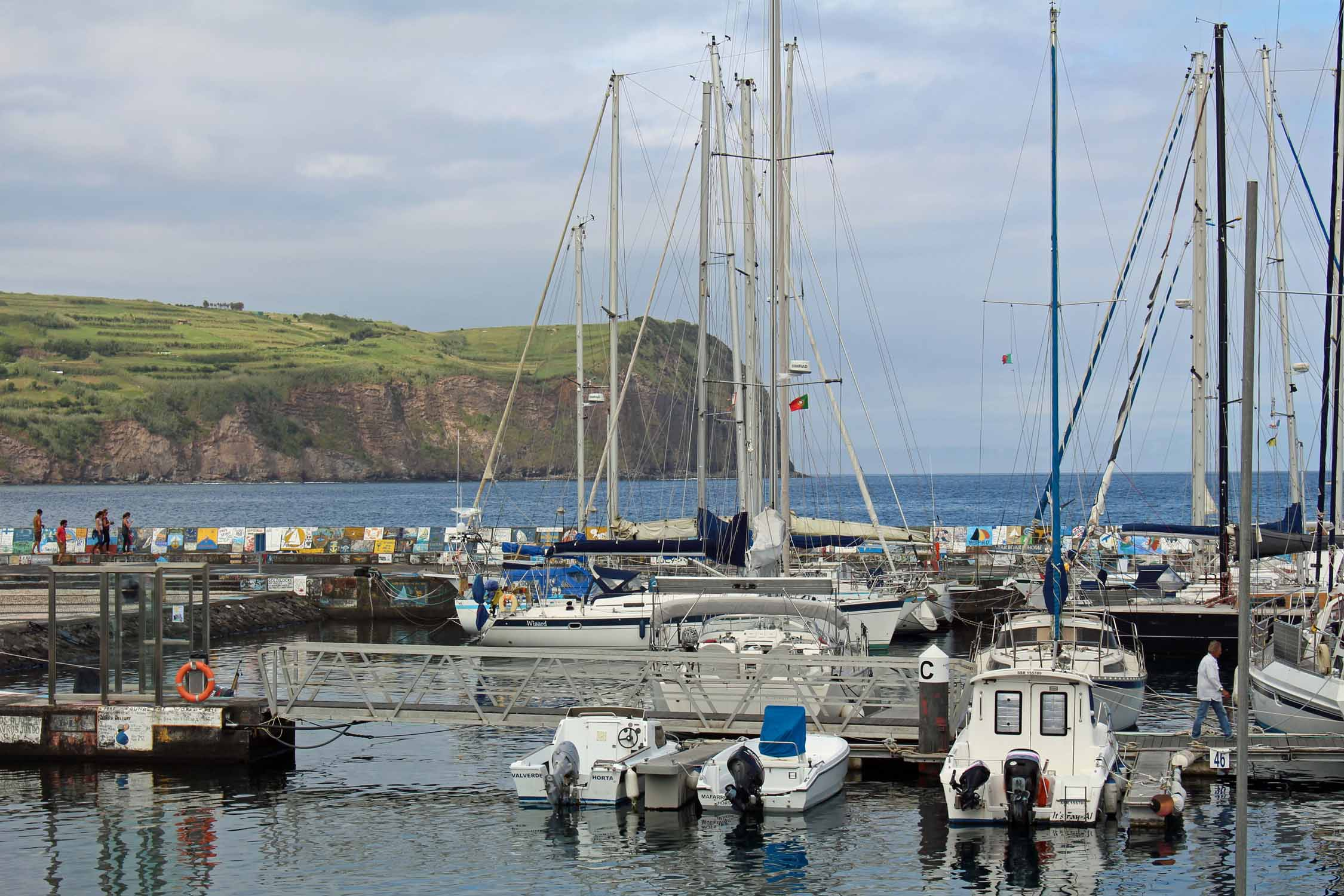 Boats on the port of Horta, Faial Island, Azores
