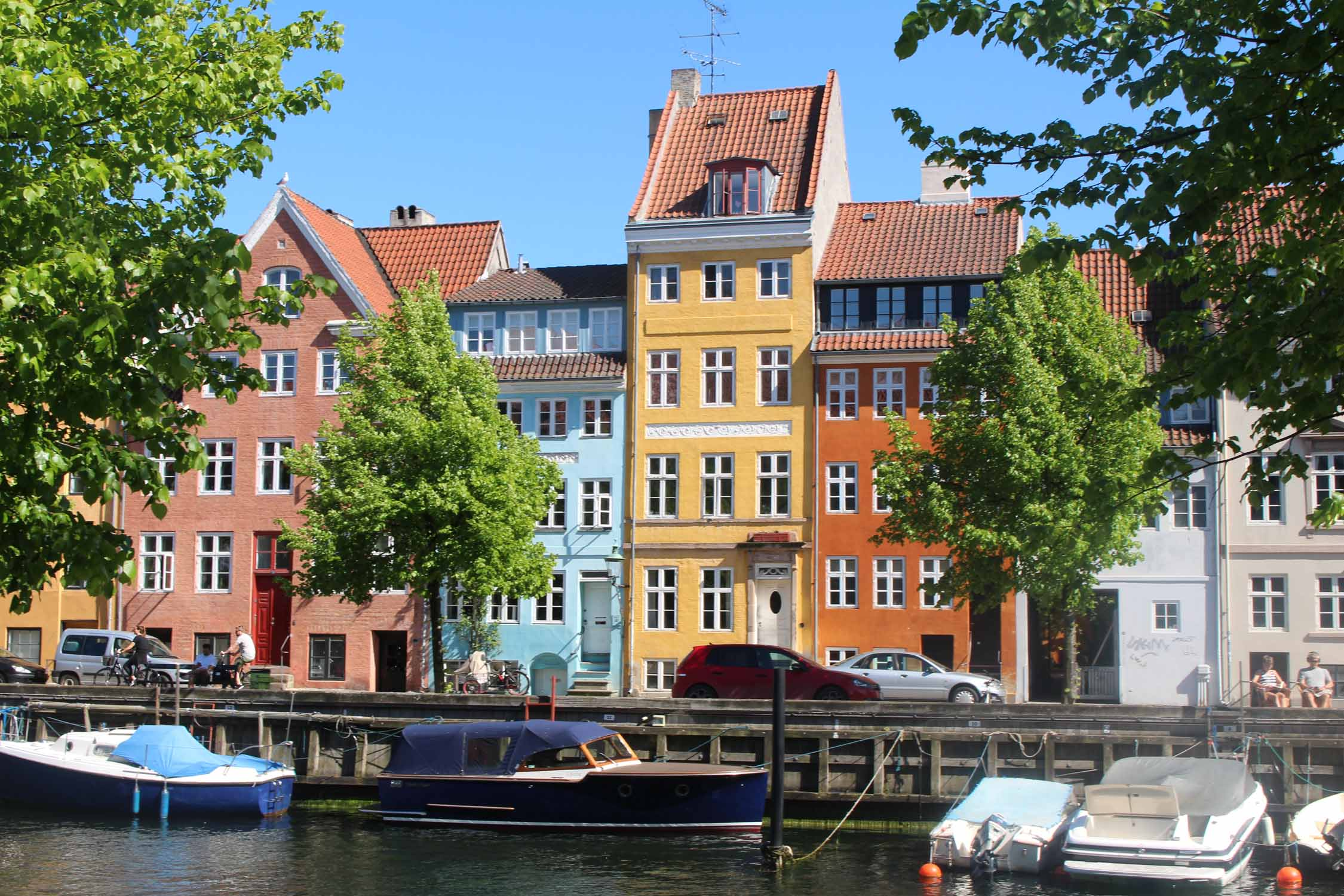 Copenhagen, canal, Christianhavns, coloured houses