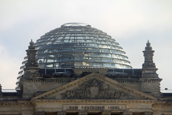 The dome of the Reichstag of Berlin
