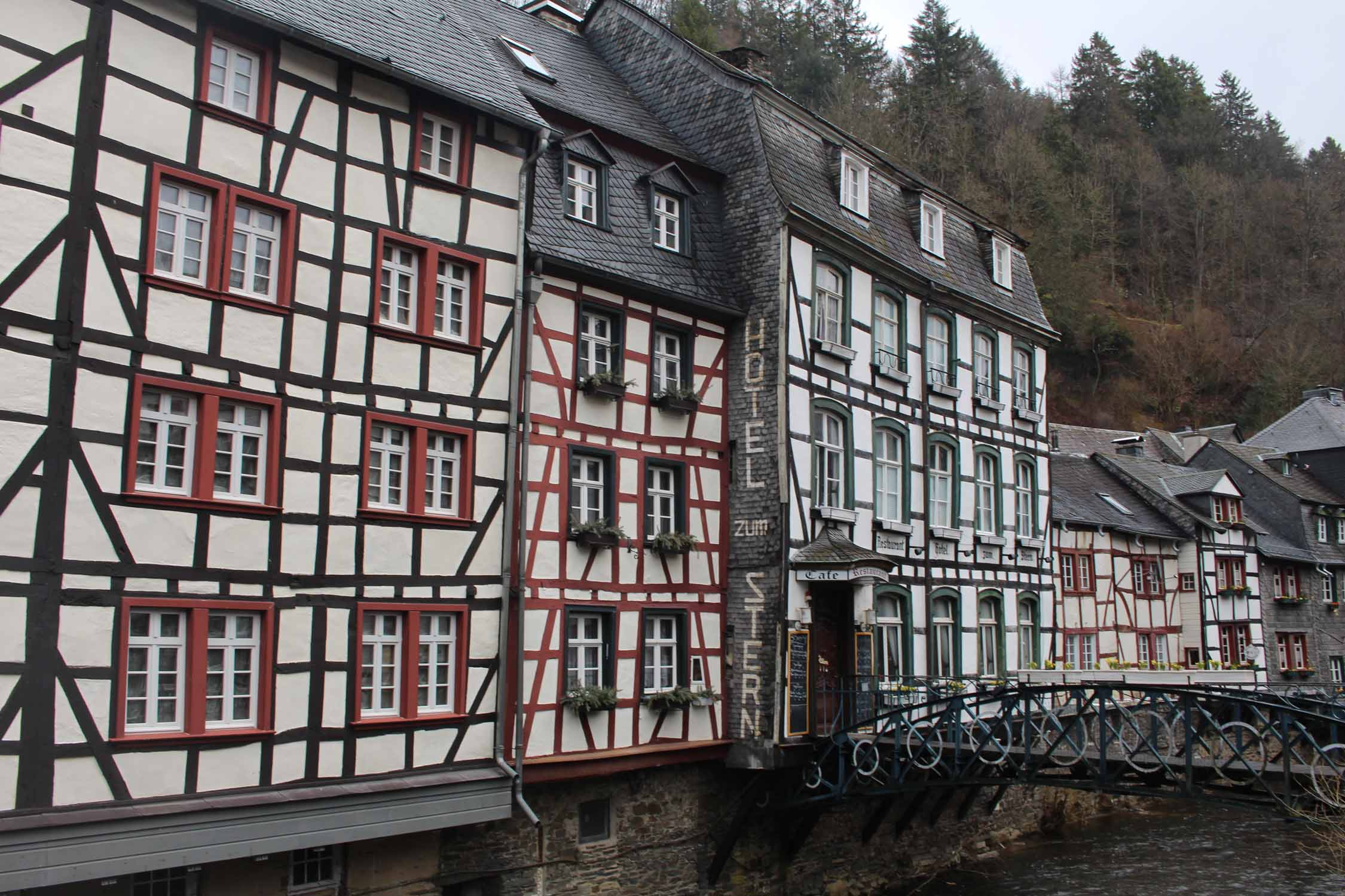 Monschau, half timbered houses, bridge