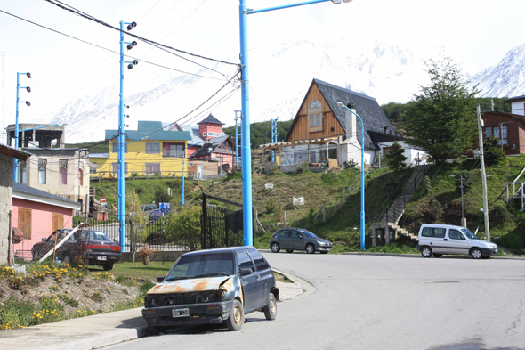 Street with a car in Ushuaia, Argentina