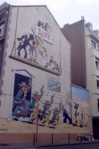 Brussels,  a drawing of Lucky Luke on a wall