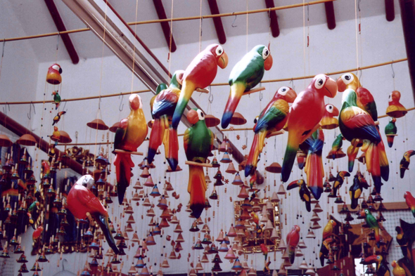 Raquira, boutique, toucans