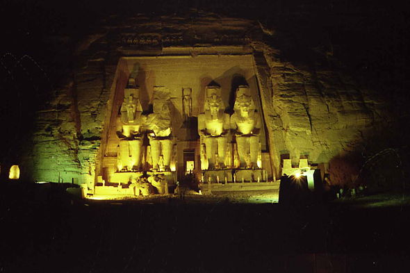 Abu Simbel, temple of Ramesses II, night
