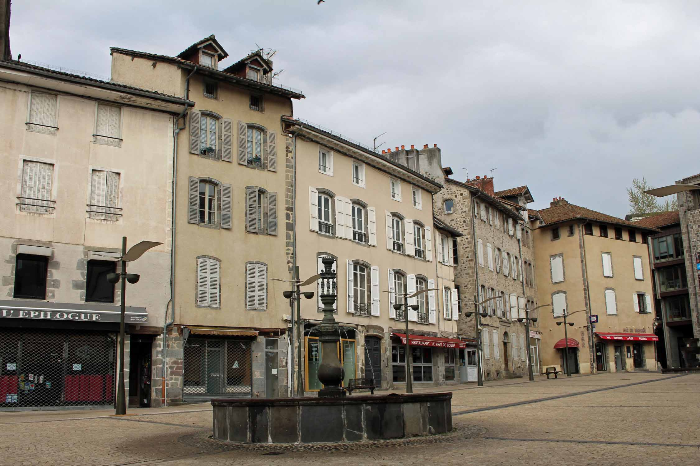 Aurillac, square, city hall, fountain