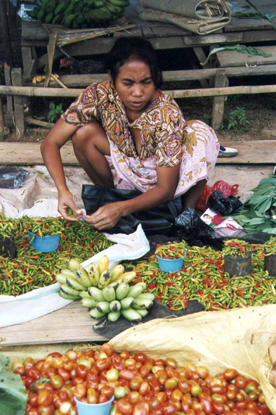 Market of Rantepao, Toraja woman