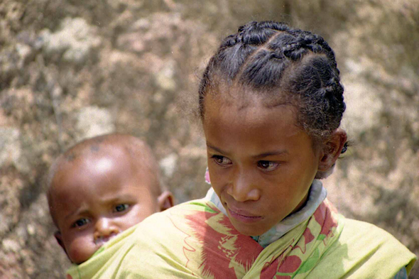 Madagascar, girl and baby