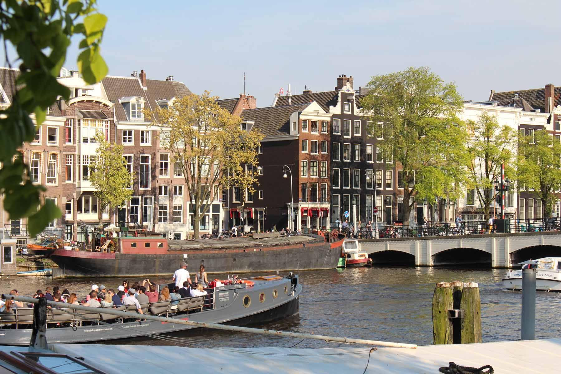 Amsterdam, typical houses, canal Amstel