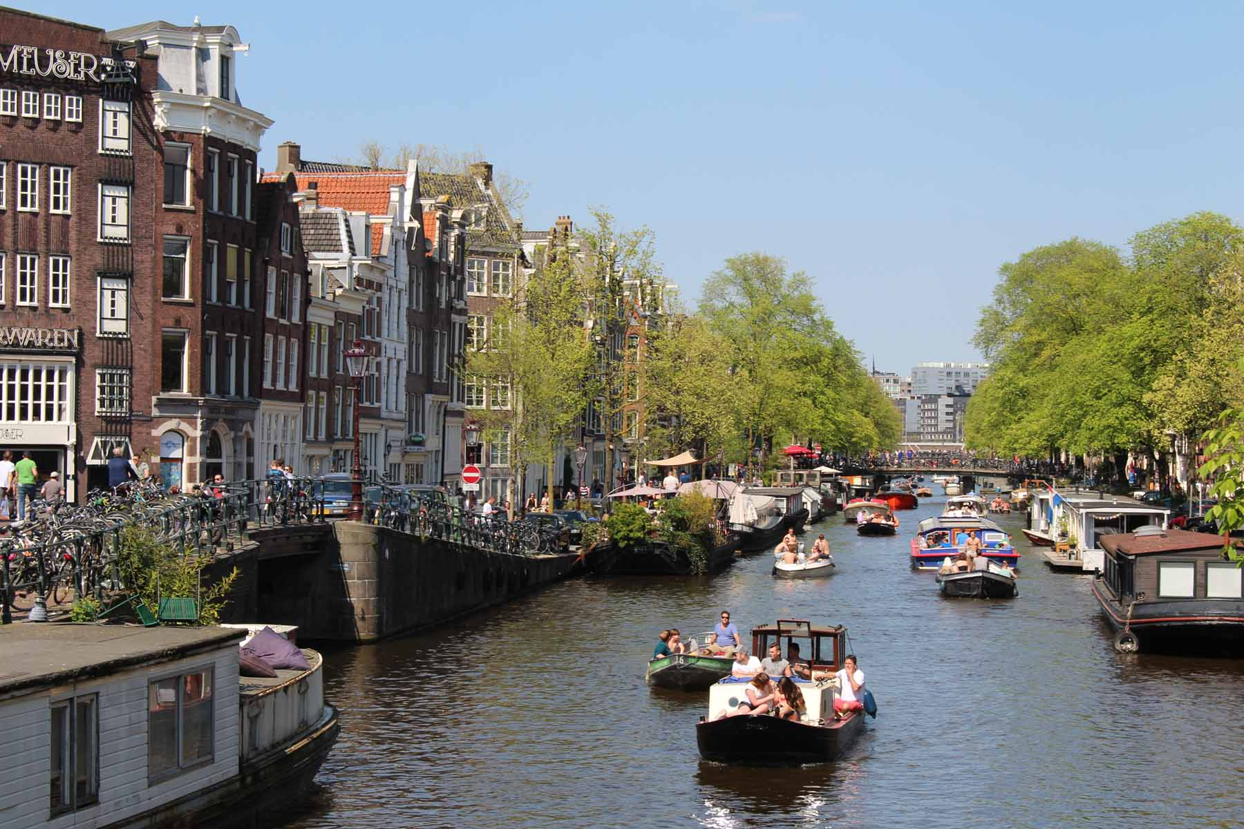 Amsterdam, barcos, canal Prinsengracht