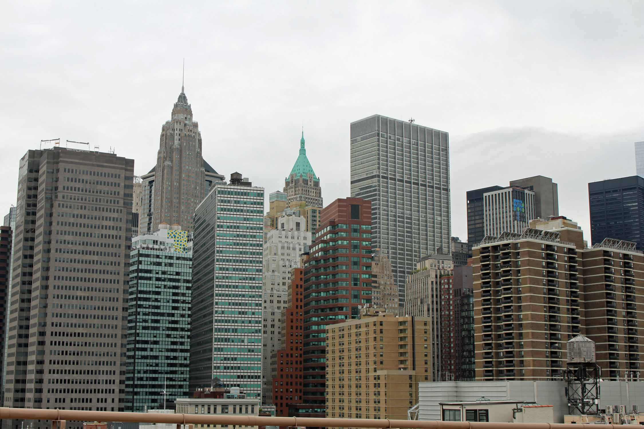 New York, tours de Manhattan, vue du pont de Brooklyn