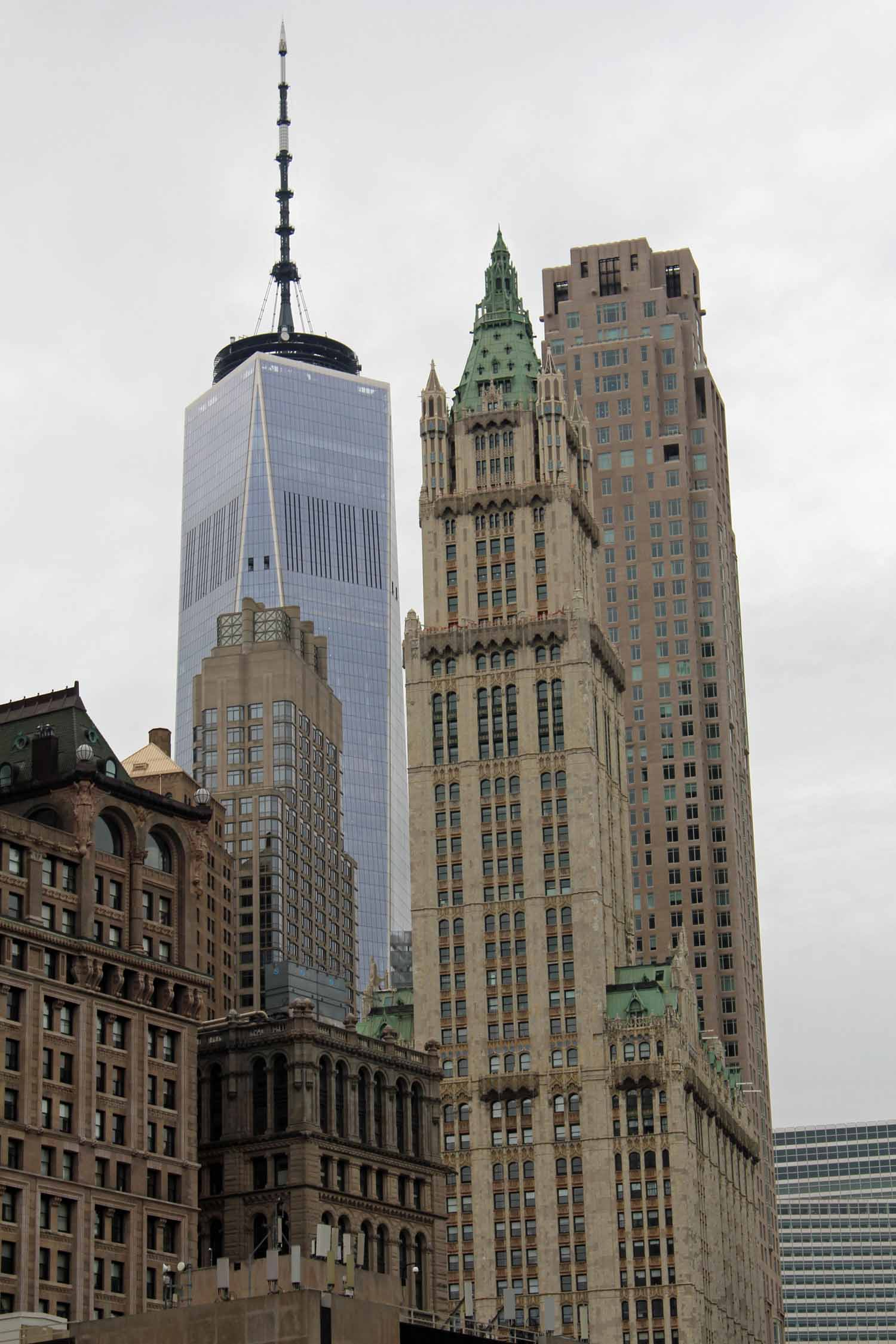 New York, Manhattan, tours Woolworth building et One World Trade Center